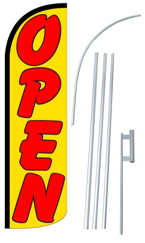 NEOPlex - 'OPEN' 12-foot SUPER Swooper Feather Flag With Heavy-Duty 15-foot Pole and Ground Spike