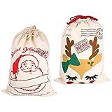MILISTEN 2 Unids Bolsas de Dulces Navideñas Bolsas de Regalo con Cordón Sacos de Santa Claus Bolsas de Regalo Golosinas Dulces Bolsas para Fiestas de Navidad Suministros para Fiestas de