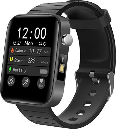 smartwatch T68 Plus a prova dágua IP67, Bluetooth 5.0 digital inteligente masculino (Preto)