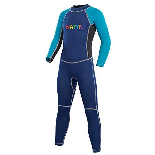 NATYFLY Traje de neopreno para niños y niñas con cremallera trasera traje de baño de una pieza con protección UV (azul-2 MM-manga larga, M-para altura de 42 '-47')