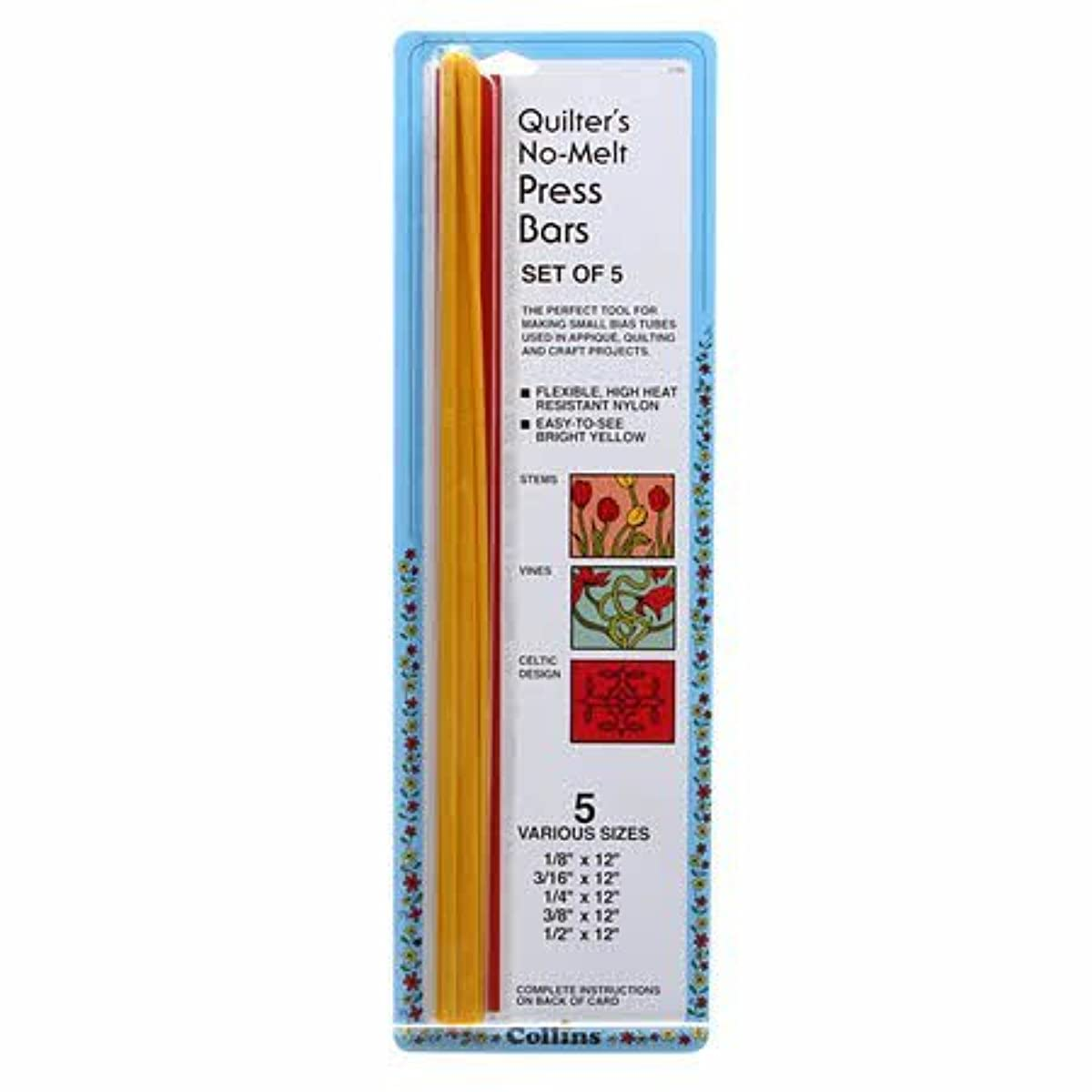 Collins Quilter's Heat Resistant Press Bars for Small Bias Tubes (Set of 5)