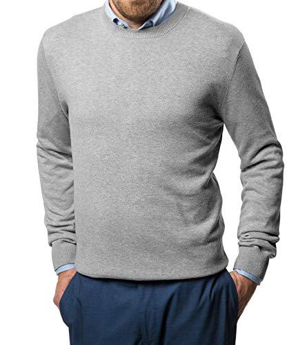 Marino Cotton Sweaters for Men - Lightweight Crewneck Men's Pullover (Light Gray, Small)