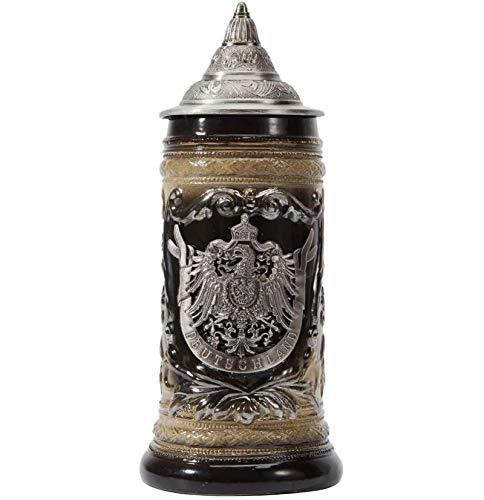 Taza de cerveza de cerámica más fina con diseño de escudo de armas alemán, con tapa de peltre para regalos, recuerdo y caja de regalo, 0,6 litros