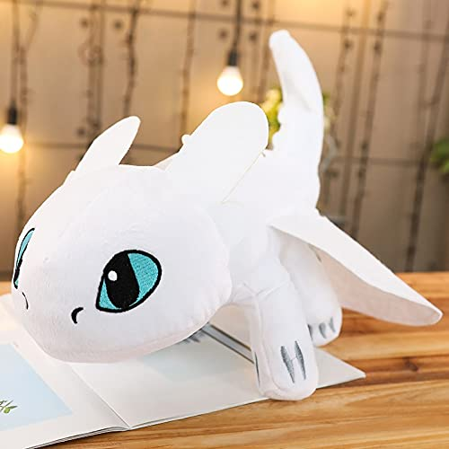 Peluchería Cómo entrenar a tu dragón muñeca de anime sin dientes Furia nocturna Furia ligera Juguete de dragón de peluche para niños (color: blanco, altura: 35 cm)