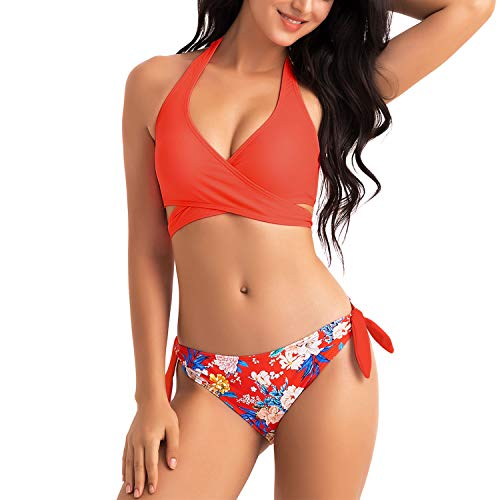 WIN.MAX Bikinis Mujer 2019,Bikinis Mujer 2019 Brasileños,Bikini Push Up con Relleno,Bañadores de Mujer,Playa de Verano Bañador,Bikini Talla Grande,Ideal para Nadar,Vacaciones(Rojo, EU32)