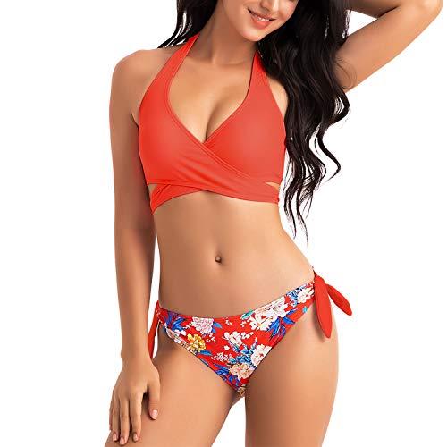 WIN.MAX Bikinis Mujer 2019,Bikinis Mujer 2019 Brasileños,Bikini Push Up con Relleno,Bañadores de Mujer,Playa de Verano Bañador,Bikini Talla Grande,Ideal para Nadar,Vacaciones(Rojo, EU40)
