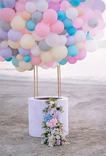 YongFoto 1,5 x 2,2 m polyester foto achtergrond kleurrijke luchtballonnen mand met bloemen versierd strand fotografie achtergrond backdrop fotostudio achtergrond rekwisieten