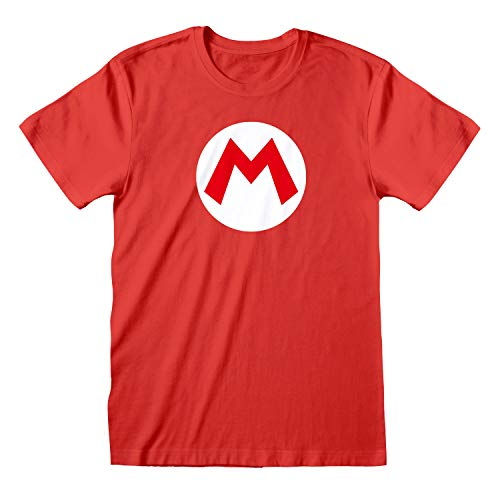 Popgear, Camiseta Super Mario para Hombre, T-Shirt Supermario Oficial, Talla S-XXL, Color Rojo