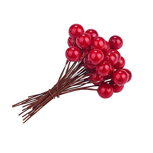 PULABO Künstliche Holly Beeren Mini Weihnachten Obst Berry Holly künstliche Blume Dekor gefälschte Obst Beeren auf Draht Stem für Weihnachtsdekor 30PCS langlebig und praktisch Gute Qualität