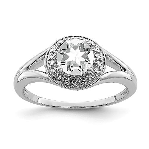 925 Sterling Silver Diamond and White Topaz Ring Size P 1/2 Jewelry Gifts for Women