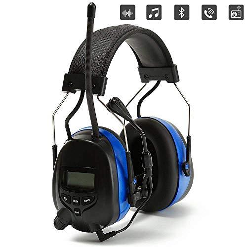 PROTEAR Oplaadbare oorverdedigers met Bluetooth, FM/AM digitale radio en ingebouwde microfoon, oorbeschermer met handsfree bellen, draadloze hoofdtelefoon voor werken en industrie, SNR 30dB Bluetooth met Boom Microfoon
