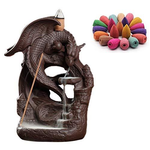Bruciatore di incenso a riflusso Drago Cascata Porta incenso, Forno in Ceramica per diffusore di aromi Dragon Mountain Tower con Cono di incenso da 100 Pezzi per Yoga Meditazione Guidata Aromaterapia