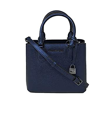 Michael Kors Adele MD Leather Messenger Bag Handbag Midnight Blue