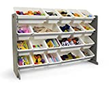 Tot Tutors Extra-Large Kid's Toy Storage Organizer w/ 20 Bins, Universal, Grey/White