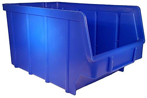26 Stück Stapelboxen – blau – Größe 3 (145 x 248 x 127 mm) - stapelbar/Sichtbox/Regalbox/Lagerbox