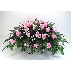 R18 Pink Rose Buds Cemetery Flower Arrangement, Headstone Saddle, Grave, Tombstone Arrangement, Cemetery Flowers