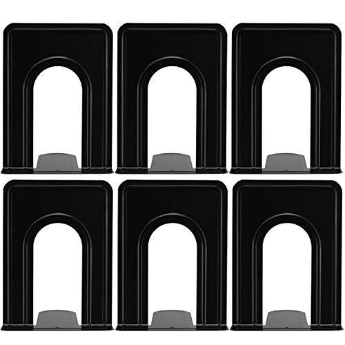 Yugge Bookend Supports Metal Book Ends Universal Economy Bookends Non-Skid Heavy Duty Book Ends Pack for Shelves Library Kitchen Home Classroom School Office, 6.69 x 4.9 x 4.3in, 3 Pair/6 Piece, Black