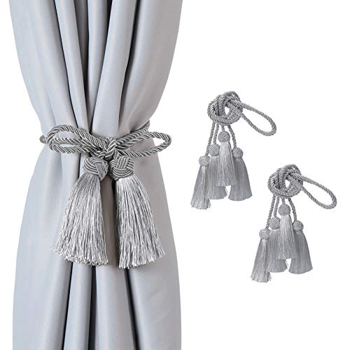 Hopeseily Tassel Curtain Tiebacks, Hand-Woven Curtain Holdbacks Tie Backs for Home Office Thin or Sheer Window Drapry Decorative, No Tools Required, No Drilling (Silver, 2 Pack)