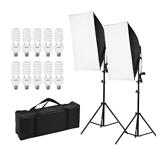 Anoder Professional Light Kit für Studiofotografie mit 50 * 70 cm Leuchtkästen * 2/4-in-1 * 2 / 45W 5500K Glühbirnen * 8 / 2M Leuchtständer * 2 / Tragetasche * 1