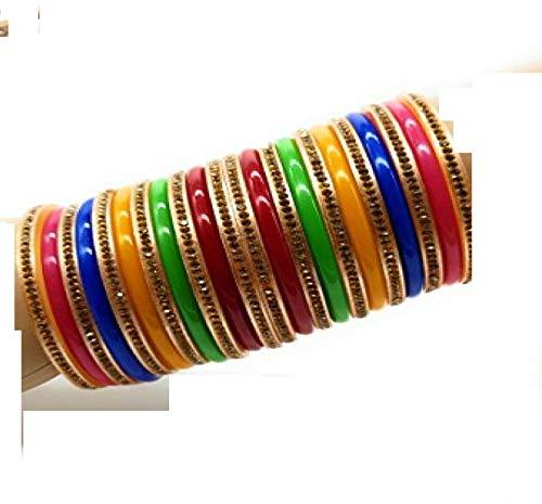 Bollywood Schmuck Kunststoff Armreifen ArmbandKada Bangle Multicolor Geschenk Hochzeit bemalen boho basteln christ cluse indische hippie-multi, Size: 2.4(5.7 cm)