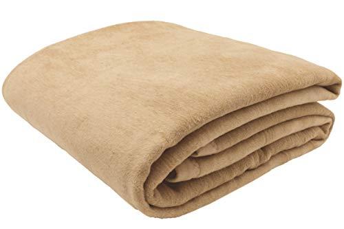 ZOLLNER Wolldecke Sand 150 x 200 cm, Baumwollmix, viele Farben, Größen