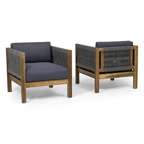 Great Deal Furniture Charlotte Outdoor Club Chair (Set of 2), Teak and Gray