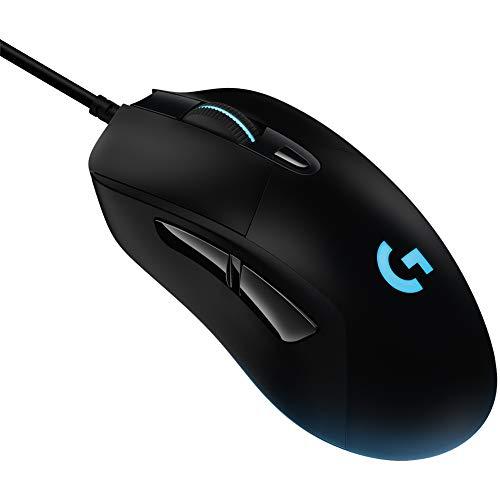 Logitech G403 HERO Gaming-Maus mit HERO 25K DPI Sensor, LIGHTSYNC RGB, geringes Gewicht von 87g und optionales 10g Gewicht, geflochtenes Kabel, PC/Mac, Schwarz