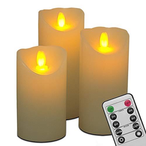 LED Kerzen,Flammenlose Kerzen, Set aus 3 Kerzen, Echtwachs mit realistischen tanzenden LED Flammen und 10-Tasten Fernbedienung, 2/4/6/8h Timer-Funktion, WEISS - CREME