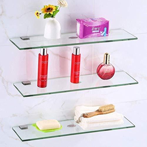 Halterks badkamer wandhouder glazen wandplank met aluminium beugel 20-60cm -715 (kleur: 2tiers maat: 30 cm) 20 cm - 3 tiers