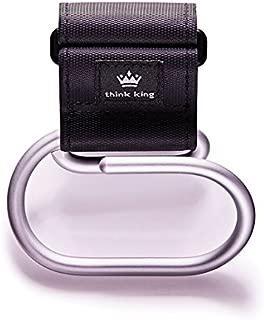Think King Jumbo Swirly Hook for Strollers/Walkers, Brushed Aluminum/Black