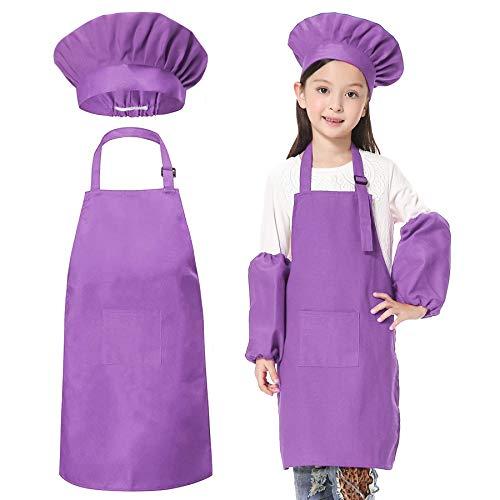 JLySHOP Juego de Delantal para niños, Gorro de Cocinero, Mangas, Delantal para niños y niñas, Ajustable, para cocinar y Hornear (6-12 años de Edad) Morado