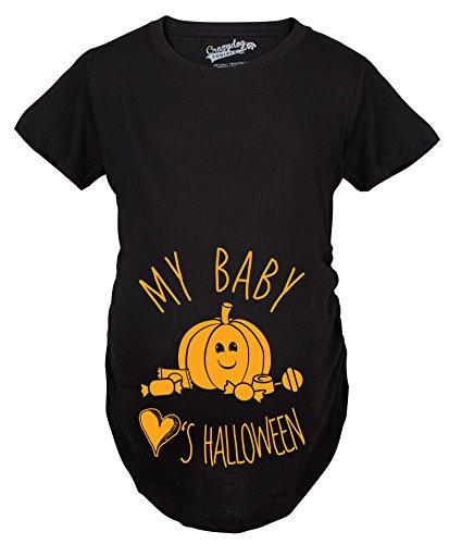 Crazy Dog Tshirts - Maternity My Baby Loves Halloween Cute Pumpkin Pregnancy Halloween Tshirt (Black) - XXL - Femme