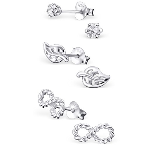 ICYROSE 925 Sterling Silver Set of 3 Pairs Round Crystal CZ, Leaf, Infinity Stud Earrings for Girls and Womens (Nickel Free) 20509