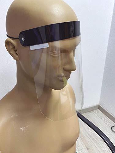 Pantalla de Protección Facial Transparente (Pack 25 Uds. - 4€/ud) Ajustable con goma. Reutilizable, ligera, cómoda, fácil de limpiar y desinfectar. Medidas 225x260mm. Apto uso alimentario.