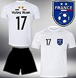 DE-Fanshop Frankreich Trikot Set 2020 mit Hose GRATIS Wunschname Nummer im EM WM Weiss Typ #FR9th - Geschenke für Kinder Erw. Jungen Baby Fußball T-Shirt Bedrucken
