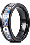 THREE KEYS JEWELRY Men Wedding Bands Tungsten Gear Punk Mechanical Foil Opal Meteorite Inlay Carbide Ring With Jewels Polished Infinity Unique For Him Blue Black Size 8