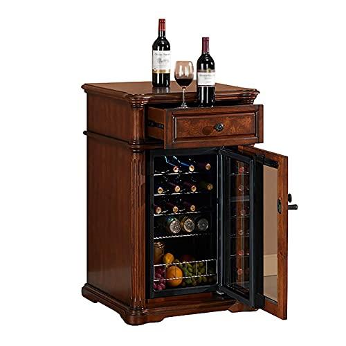 VIY Nevera de vinos vinoteca Refrigerador Bebidas 100 L 19 Botellas 5 Estantes Control Touchpad Temperatura 5-18 °C Doble Cristal,Marrón