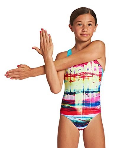 ARENA Mädchen G Rainbow Colors Jr Pro Back One Piece Swimsuit, Freak Rose-martinica, 164 EU