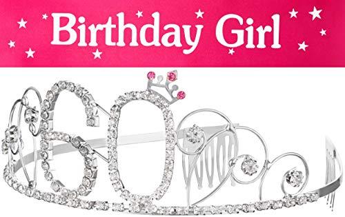 Haarreif Krone + Schärpe Birthday Girl 60. Geburtstag Happy Birthday Kristall Strass Krone Verzierungen Hochzeit Haar Haarband Kamm Stirnband für Frauen (Krone 60 + Schärpe)