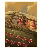 LGXINGLIyidian Seconda Guerra Mondiale Rosso Pin-Up delle Ragazze URSS Sovietica Vintage Tela Retro Poster Bar Cafe Soggiorno Decorazioni Murali Dipinti St279 40X50Cm
