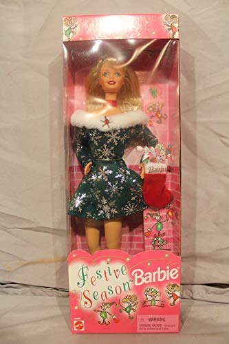 MATTEL BARBIE poupée blonde FESTIVE SEASON fete de noël SOIR MAGIQUE robe verte et flocon argenté 1997