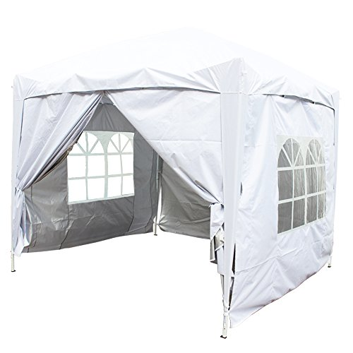Greenbay White Heavy Duty Pop-up Gazebo Marquee Canopy with 4 Side Panels and Carrybag - 2m x 2m