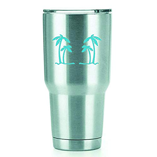 KCD Palm Trees Vinyl Decals Stickers (2 Pack!!!) | Yeti Tumbler Cup Ozark Trail RTIC Orca | Decals Only! Cup not Included! | 2-4 X 2.5 inch Light Blue Decals | KCD1554LBL