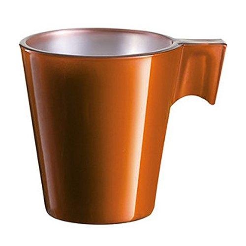 Luminarc Flashy Expresso Lot de 12 tasses 8 cl en verre coloré orange avec manche bar café