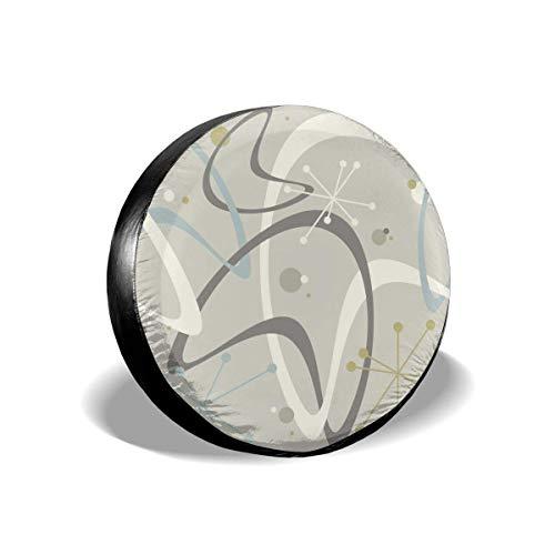 Hokdny Cubierta DE LA Rueda Mid Century Moderno Estilo de los años 50 Vintage Retro Atómico Romantic Wheel Cover with PVC Leather Waterproof Dust-Proof Fit