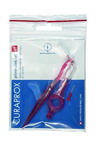 CURAPROX Interdentalbürsten, Größe 0,7mm,  2er Set aus 2 Haltern mit Bürste plus 1 Ersatzbürste ,  Zahnreiniger für sehr schmale Zahnzwischenräume, CPS 07 prime clinic