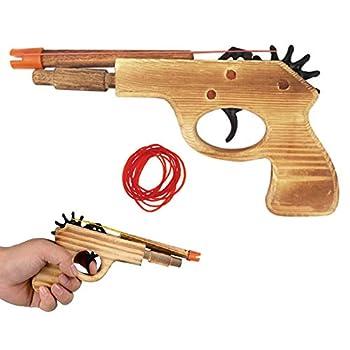 1 Pc Wooden Pistol Toy Rubber Band Gun Shooter Kids Cowboy Classic Antique Gift