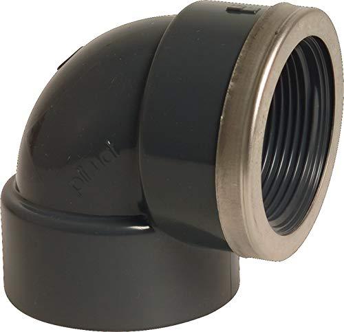 'Liqui Pipe GmbH PVC Angle 90 ° adhésives Manchon x Filetage intérieur avec bague en acier 1/2 filetage femelle 20 mm gris Manchon adhésives x angle PVC U