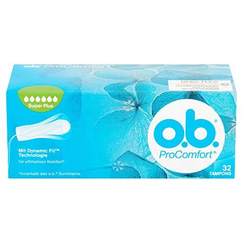 o.b. ProComfort Super Plus Tampons mit Dynamic Fi Technologie und SilkTouch Oberfläche, Für ultimativen Komfort (innerhalb des o.b. Sortiments) und zuverlässigen Schutz 32 Pack