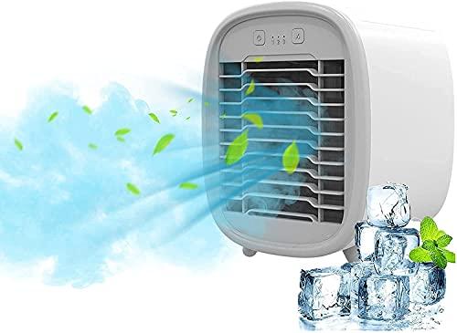Exquisito Ventilador de aire acondicionado portátil para el hogar, humidificador de purificación de refrigeración por aire silencioso USB, mini enfriador de aire evaporativo con 3 velocidades, ventila